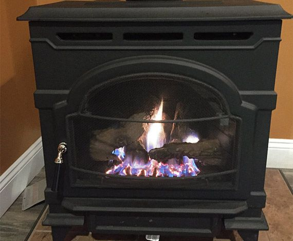 front of gas stove